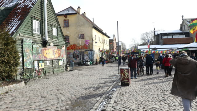 panning shot of christiania free town copenhagen denmark - denmark stock videos & royalty-free footage