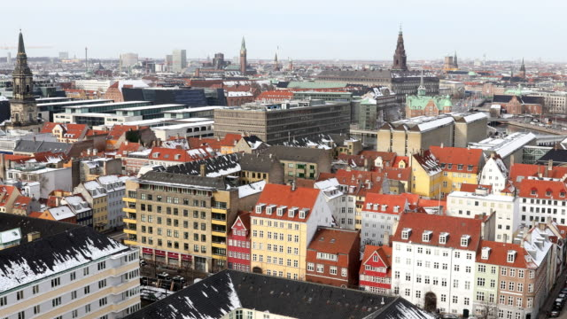 panning shot of copenhagen aerial view denmark - copenhagen stock videos & royalty-free footage