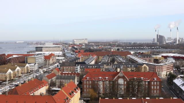 panning shot of copenhagen aerial view denmark - copenhagen stock videos and b-roll footage
