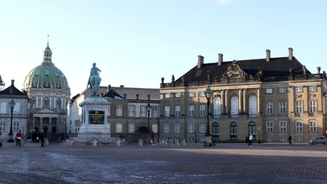 panning shot of copenhagen amalienborg  town square denmark - castle stock videos & royalty-free footage