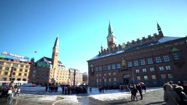 panning shot of Copenhagen Denmark City hall