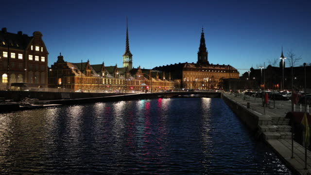panning shot of copenhagen denmark night - copenhagen stock videos & royalty-free footage