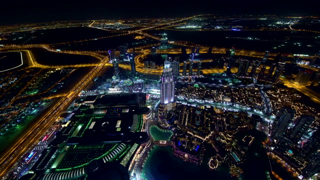 Panning shot of Dubai at night