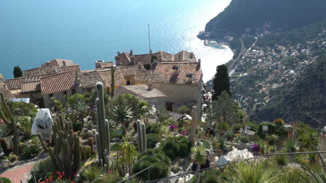 panning shot of eze historic village, france - south stock videos & royalty-free footage