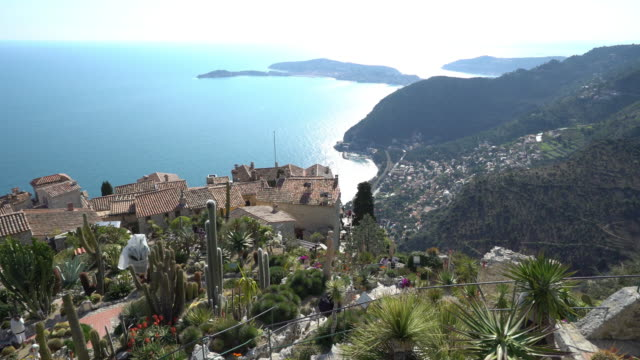 panning shot of eze historic village, france - cannes stock videos & royalty-free footage
