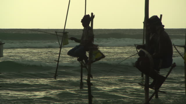 panning shot of fishermen in sea doing stilt fishing at beach during sunset against sky - arugam bay, sri lanka - sri lankan culture stock videos & royalty-free footage