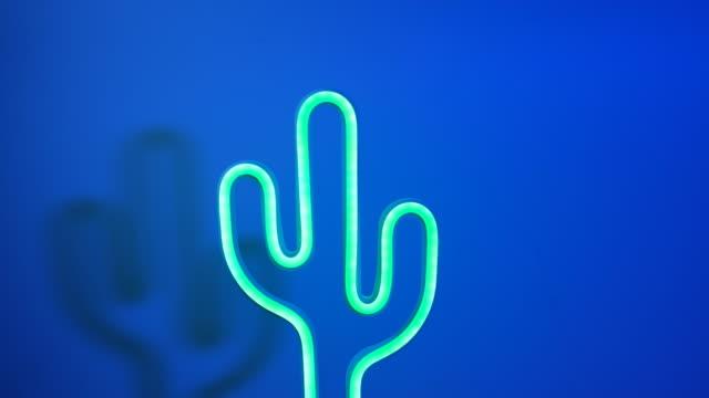 schwenkaufnahme von blinkendem bunten licht mit kaktus grün neon licht lampe in dunkelblauen hintergrund - kaktus stock-videos und b-roll-filmmaterial