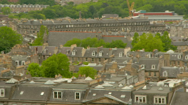 panning shot of houses in residential district - edinburgh, scotland - scotland stock videos & royalty-free footage