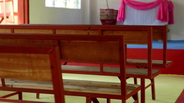 panning shot of inside a 3rd world church