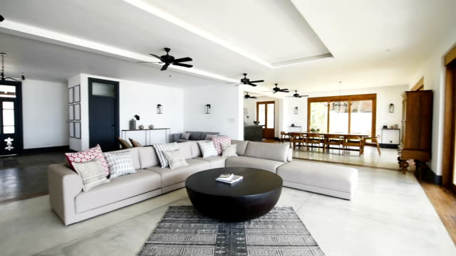 Panning shot of luxury open plan holiday apartment
