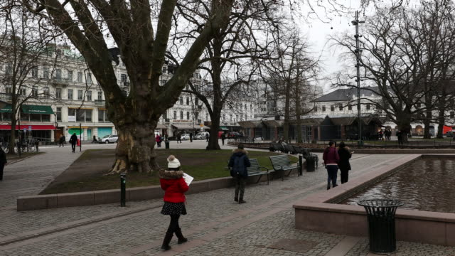 panning shot of malmo downtown town square torg sweden - swedish culture stock videos & royalty-free footage