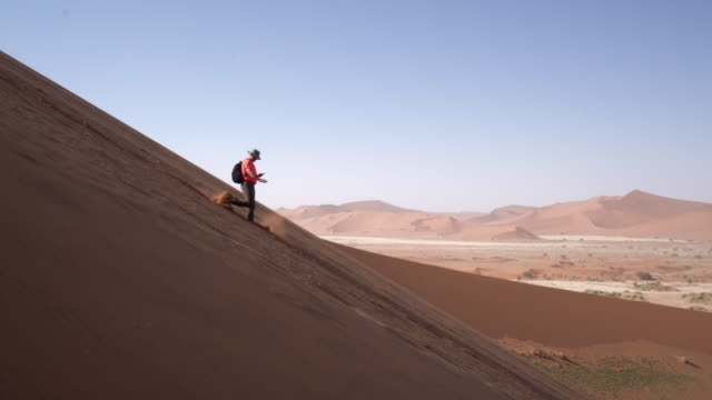 panning shot of man walking downhill on sand dune in desert against sky, tourist exploring arid landscape - namib desert, namibia - side view stock videos & royalty-free footage