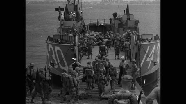 panning shot of marines boarding ship at camp pendleton - 40 seconds or greater stock videos & royalty-free footage