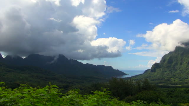 panning shot of moorea mountain range - insel moorea stock-videos und b-roll-filmmaterial