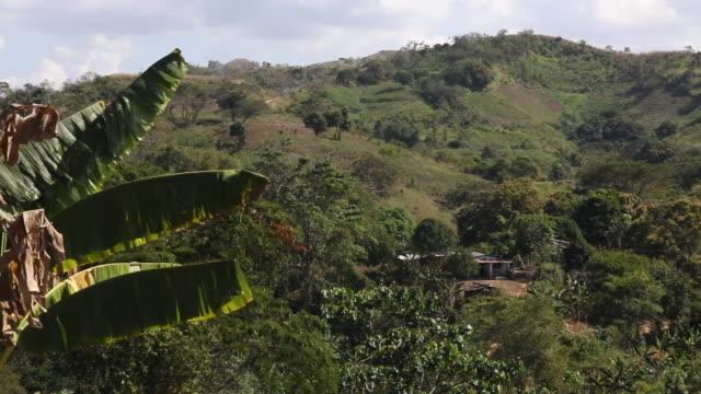 Panning shot of mountains in Tocoron Venezuela