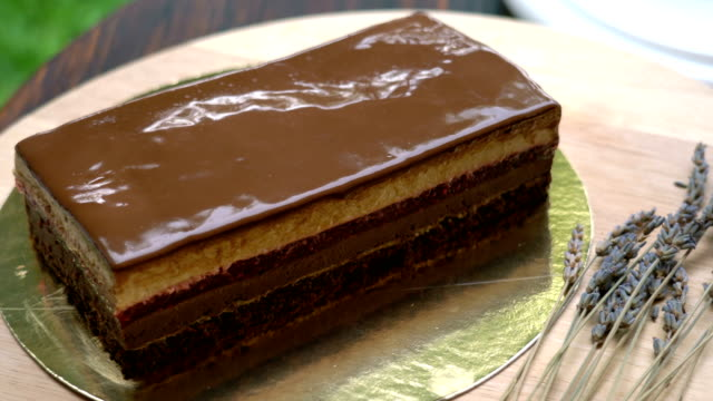 vídeos de stock e filmes b-roll de panning shot of opera cake - objeto decorativo