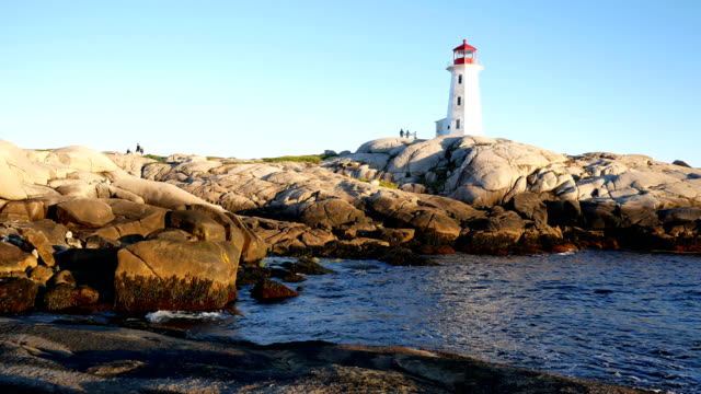 4k panning shot of peggy's cove - nova scotia stock videos and b-roll footage