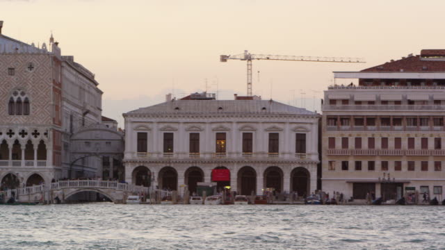 panning shot of piazza san marco and the wharf. - water taxi stock videos & royalty-free footage