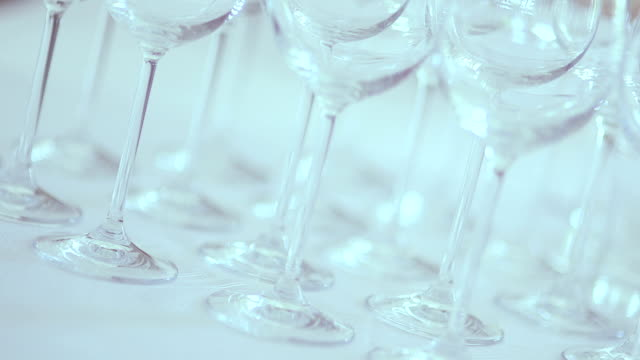 Panning shot of Rows on empty wineglasses