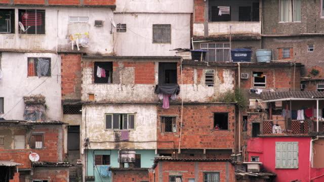 Panning shot of shantytown in Rio de Janeiro, Brazil