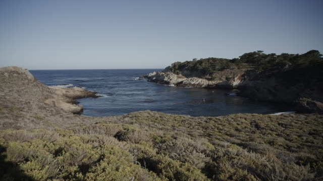 panning shot of sunny ocean cove / point lobos, california, united states - pazifikküste stock-videos und b-roll-filmmaterial