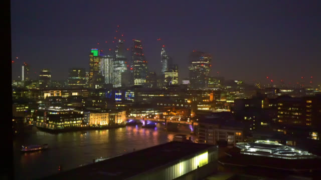 panning shot of the city of london skyline with the shard st paul's cathedral and river thames seen from blavatnik building aka switch house of the... - skyline stock videos & royalty-free footage