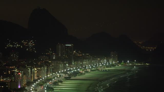 vídeos de stock, filmes e b-roll de panning shot of the coastline in rio de janeiro, brazil - panning