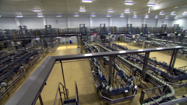 Panning shot of the interior of a milk production factory