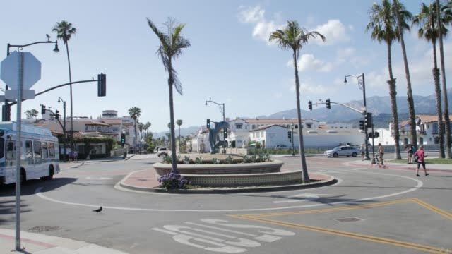 Panning shot of traffic on coastal path next to West Cabrillo Boulevard, Santa Barbara, California, North America