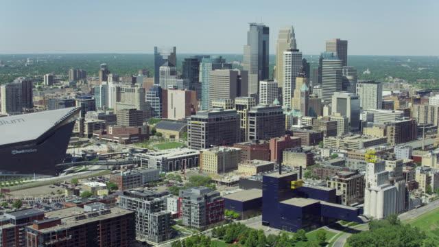 Panning Shot Of US Bank Stadium In Minneapolis