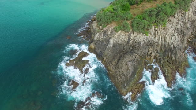panning shot over cliffs and rocks with trees on coastline - sri lanka stock videos and b-roll footage