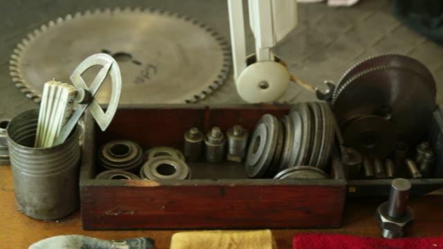 Panning Shot over Toolboxes in Workshop