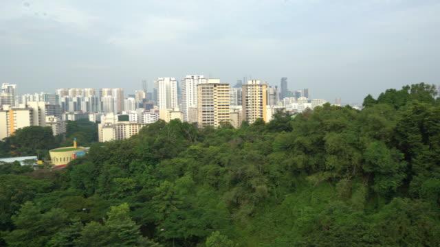 vidéos et rushes de panoramique photo: passerelle pour piétons et singapour skyline - parc naturel