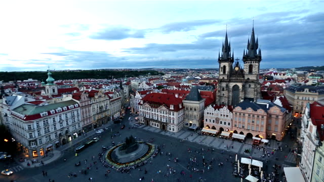 panning shot: pedestrian crowded at old town square prague czech republic sunset - charles bridge stock videos & royalty-free footage