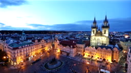 panning shot: Pedestrian crowded at Old Town Square Prague Czech Republic sunset