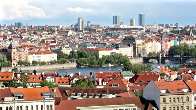panning shot: Prague cityscape with Charles Bridge Karluv Most Czech Republic