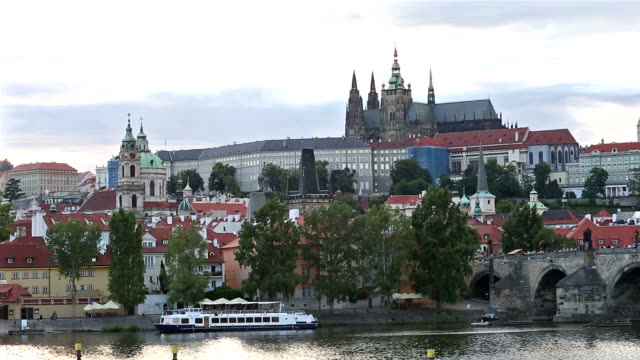 panning shot: prague cityscape with vltava river czech republic - river vltava stock videos & royalty-free footage
