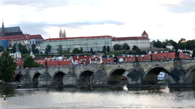 panning shot: prague cityscape with vltava river czech republic - traditionally czech stock videos & royalty-free footage