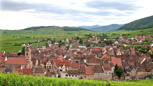 panoramique tourné Cityscape Village de Riquewihr en Alsace France