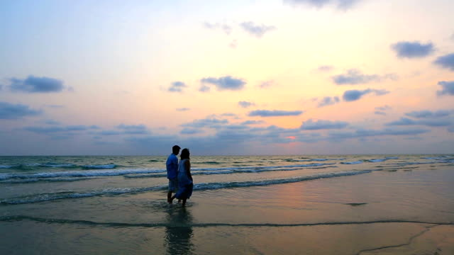 Panning Shot: Romantic Couples walking at beach sunset