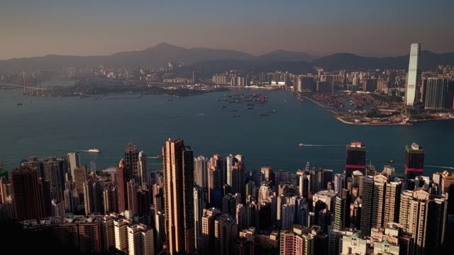 stockvideo's en b-roll-footage met panning shot showing hong kong island from a viewpoint on victoria peak, hong kong - victoria peak