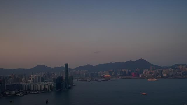 panning shot showing views of kowloon, victoria harbour and hong kong island at sunset, hong kong - hong kong island stock videos & royalty-free footage