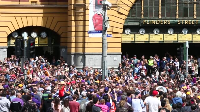 panning shot the 2013 afl grand final parade on september 27 2013 in melbourne australia - parade stock videos & royalty-free footage