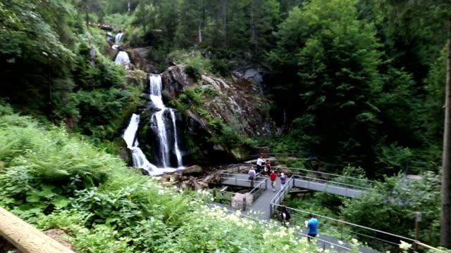 vídeos y material grabado en eventos de stock de panning shot: cascada tropical en la cascada de triberg bosques alemania - baden wurttemberg