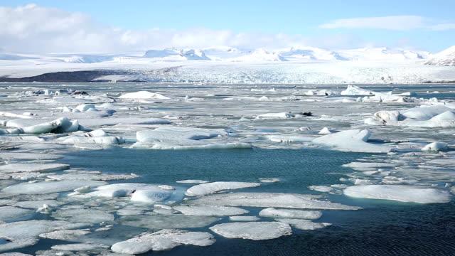 HD Panning Shot: Vatnajokull Glacier Jokulsarlon lagoon Iceland