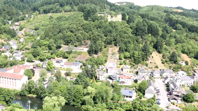 Panning shot: Vianden old town Cityscape in Luxembourg BeNeLux
