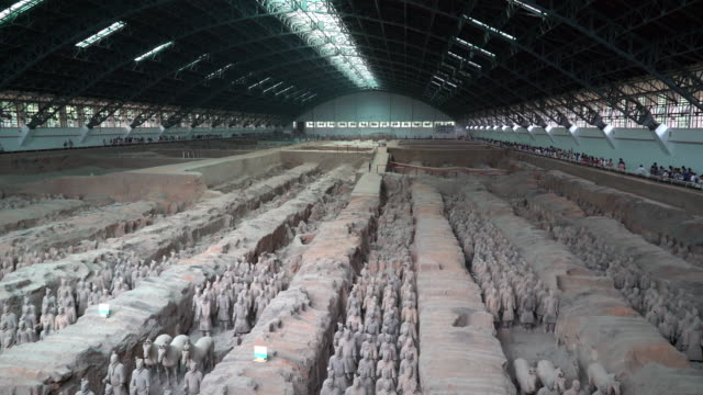 panning shot: xian china terra cotta warriors - heer stock-videos und b-roll-filmmaterial