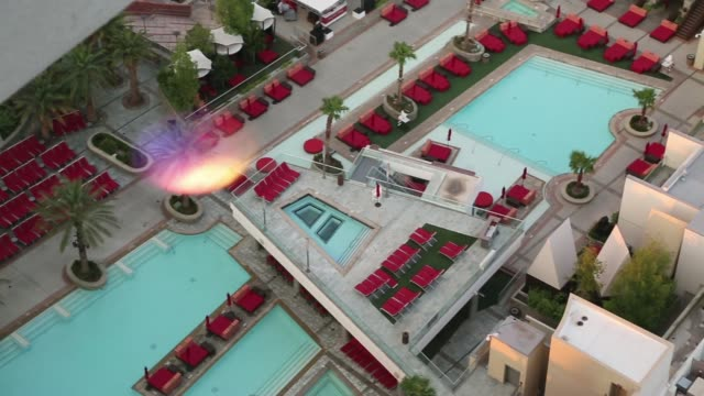 panning shots and rak focus shots of the infiniti pool on the balcony of a palms hotel luxury suite in las vegas nevada shots of the main hotel pool... - casino floor stock videos & royalty-free footage