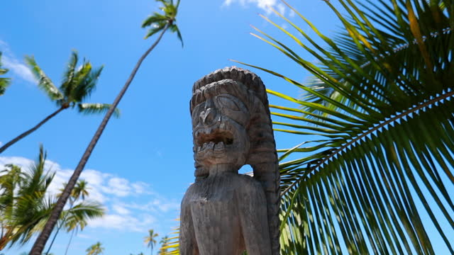 panning slow motion close-up shot of ancient statue at hawaii island on sunny day - big island, hawaii - big island hawaii islands stock videos & royalty-free footage