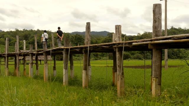 panning: su tong pae bridge under rain season - mae hong son province stock videos and b-roll footage